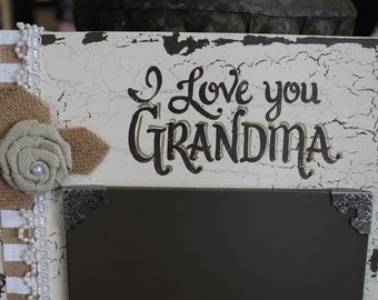 """Personalized Picture Frame-""""I Love You Grandma""""-Custom Picture Frame-Hand Painted-Shabby Chic-Cottage Chic-Vintage-Rustic-French Country"""