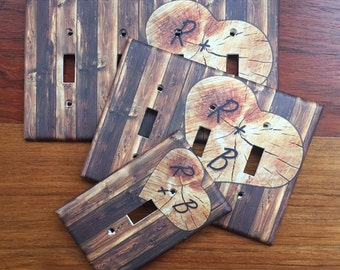 Rustic Wood Planks Etched Initial Heart Light Switch Plate Cover // dark brown // SAME DAY SHIPPING**