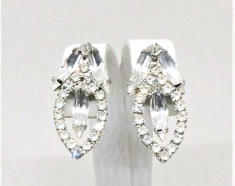 Rhinestone Earrings - Vintage, Silver Tone, Clear Rhinestones, Clip on