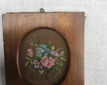 Vintage petit point floral picture