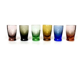 Multi Color Shot Glasses, Hand Blown, Etched Flower, Leaf, Pink, Amber, Purple, Smokey, Green, Blue