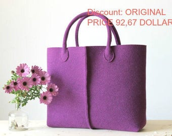 Discount: Original Price, 92,67 Dollars - Elegant and Casual Felt Bag from Italy, Tote Bag, Felted bag, Market Bag, Felt Tote.