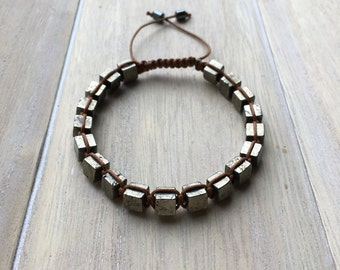 Unisex knotted macrame bracelet, pyrite cube beads on brown waxed cord.