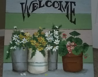 Potted Garden Welcome Sign