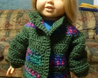 18 Inch Doll, Clothes, Doll Cardigan, Doll Sweater, Sweater,  Crocheted Sweater, Crocheted Doll Sweater, Cardigan
