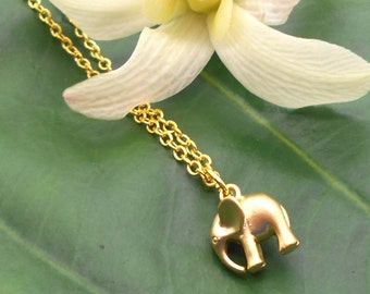 Tiny Gold Elephant Necklace - Gold Necklace, Ganesh, Baby Elephant, Lucky Elephant