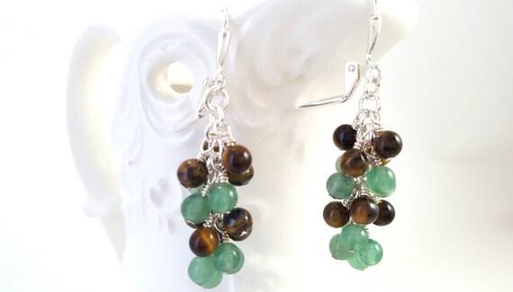 Tiger Eye and Green Aventurine Earrings - Mixed Gemstone Earrings - Cluster Earrings - Grape Earrings - Lever Back Earrings - Hippie - Boho