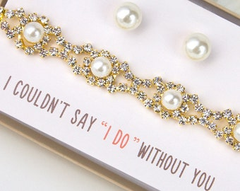Personalized Jewelry Set Bridesmaid Jewelry Gift Set Bracelet earring set Mother of the Bride Gift Classic Pearl Bracelet Set B158E178G
