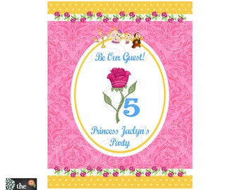 PRINTABLE Party/Door Sign - Belle - Yellow Princess