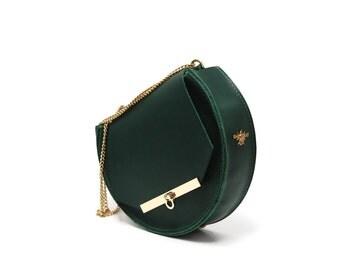 Loel mini military bee chain bag clutch in emerald green