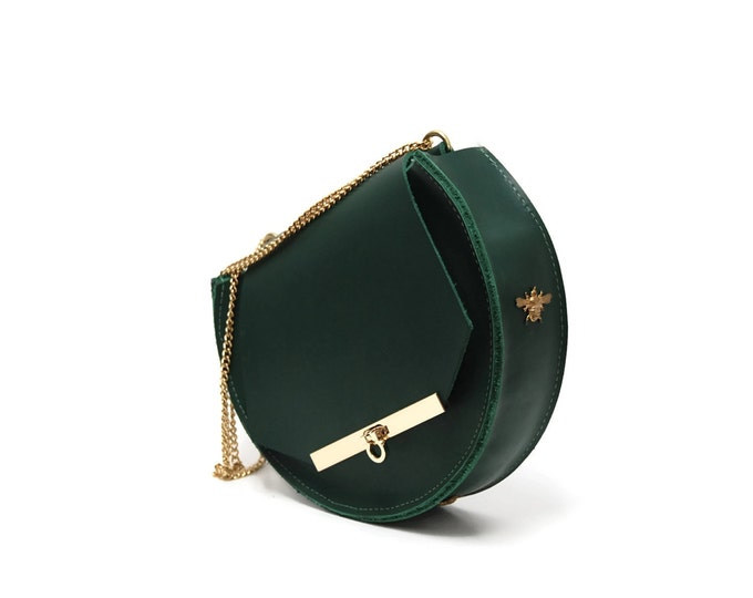 Featured listing image: Loel mini military bee chain bag clutch in emerald green