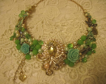 Sea Treasures Statement Necklace,Upscale from Recycled Pieces,Vintage Broaches, Vintage Beads, Pearls, Earrings,Chains