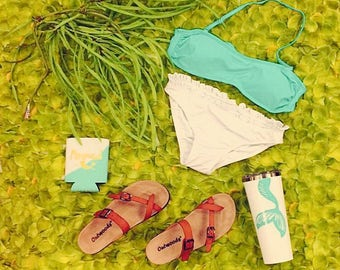 Monogram Mint Bandeau Top  and Bottom Bikini Set