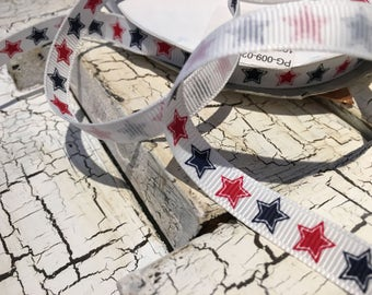 """3 yards 3/8"""" Patriotic Red White and blue stars grosgrain"""