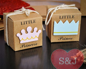 10x Little Prince/Princess baby shower birthday party bomboniere favour boxes w Twine