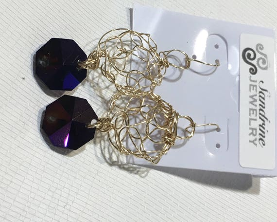 Earrings - gold filled wire crochet with recycled purple chandelier crystal hexagonal prism