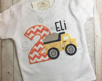 Dump Truck Birthday Shirt | Shirt or Bodysuit | Construction Birthday Outfit | Custom Appliquéd & Embroidered | Trucks Shirt | By Sixpence