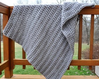 FREE SHIPPING-Crochet Blanket-Ultra Soft- Gray, Super Bulky Yarn, Very Soft, Made with Two Strands For an Extra Thick Blanket