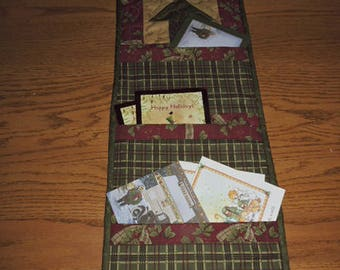 """Quilted Christmas Card Holder in New Christmas Collection, Forever Green    32"""" x 10.5"""""""