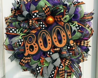 Boo Halloween Mesh Wreath, Halloween Deco Mesh, Boo, Halloween Decor, Boo Decor, Boo Deco Mesh Wreath