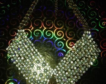 Vtg 90'S RETRO pearls and rhinestones collar necklace S