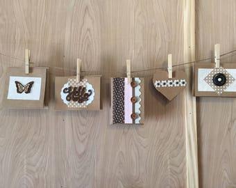 Handmade set of 5 cards