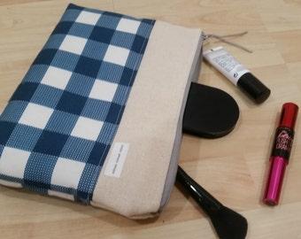 Blue Plaid Canvas Pouch, Zipper Pouch, Make Up Bag, Clutch