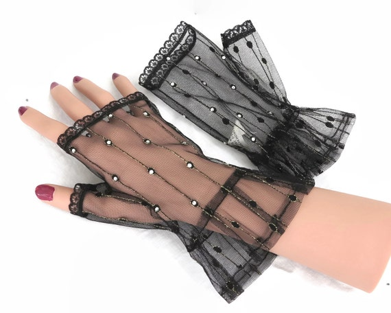 Fingerless black net gloves with gold metallic thread, crystals, and black lace, Dents brand, vintage dead stock, Goth / costume gloves