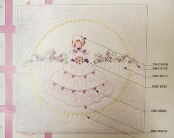 "Jack Dempsey Needle Art #164 Lady 18"" Embroidery Squares"