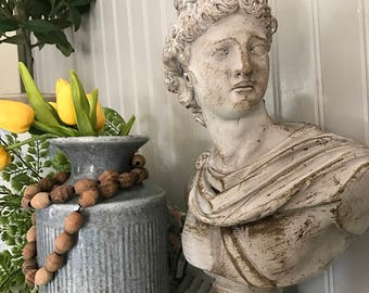 David Roman Statue, Plaster Bust Figurine, FRENCH PROVINCIAL Painted Office Mantle Decor Piece