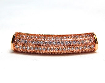 1 - Rose Gold Micro Pave Tube Bead, Rose Gold Beads, Tube Slider Beads, Micro PaveTube Beads, Rose Gold Pave Beads, Large Hole Beads, T-105A