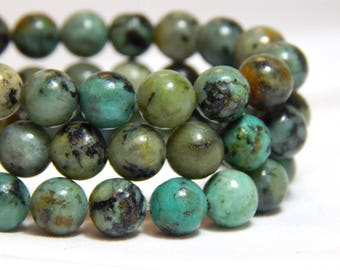 6mm African Turquoise, 6mm Gemstones, Green Gemstones, Rustic Beads, Natural Gemstones, Natural Stones, 8mm Stone Beads, Full Strand, B-11B