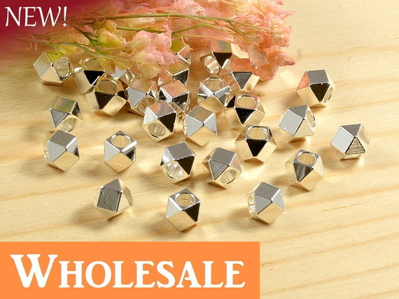 4mm Faceted Spacer Beads WHOLESALE, Large Hole Metal Beads with Anti-tarnish Silver Plating  - 100 PCS per order