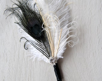 Bridal boutonniere Ostrich Feather Bridal Ivory Black Great Gatsby 1920s groomsmen boutonnire wedding groom feathers boutonniere button hole