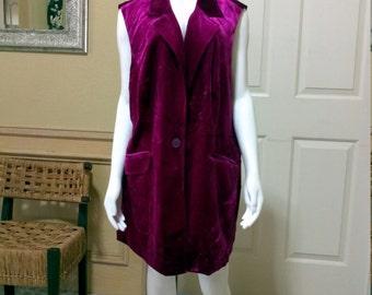 70s Vest Fuscia Crushed Velvet Vest Boho Hippie Vest Button Front 1970s Long Vest size L/XL