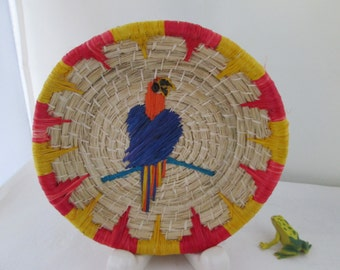 Small Colorful Parrot Basket Hand Woven Basket Natural basket decorated basket coiled basket round basket tropical bird basket reed basket