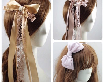 SALE Lolita Hair Accessory Set: 1 x Oversized Bow Headband + 2 x Long Tailed Lace Bow