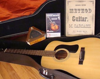 George Washburn D10N Acoustic Guitar with Case, Tuner, Video and Vintage Book