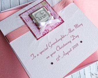 Handmade Boxed Christening Card for Girl - 'Pink Elephant', Personalised for Daughter, Grandaughter, Goddaughter, Niece etc