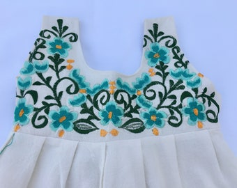 Mexican Baby Dress with Floral Design Embroidery from Yucatan Mexico Size T2