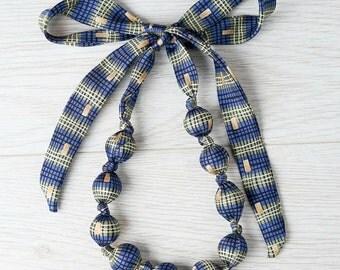 Silk fabric/textile bead necklace