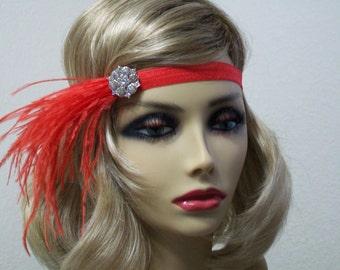 Red 1920s headband, Great Gatsby headpiece, Flapper headpiece, Gatsby headband, Feather headband, New Years Eve, 1920s hair accessory