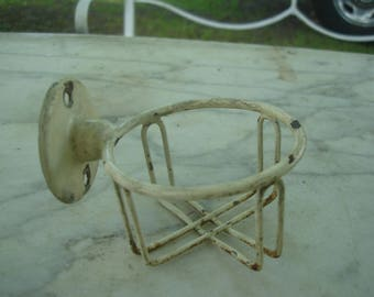 antique bathroom cup holder / metal wall mounted cup holder chippy paint /art deco