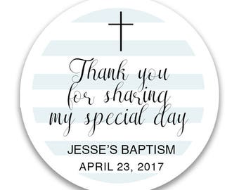 "Custom Christening or Baptism Labels - Baby Boy - Confirmation Labels  - First Communion - Choose color -  1.5"", 2"" or  2.5"" round labels"