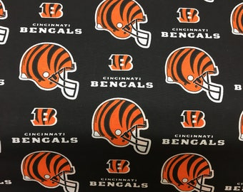 "CINCINNATI BENGALS nfl 60"" Cotton Fabric By The Yard All Over Black Print Fabric Traditions"