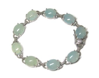 Sterling Chalcedony Bracelet 7 1/2 Inches