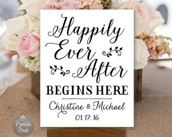 Happily Ever After Begins Here Printable, Black and White, Wedding Sign, Rehearsal, Shower, Engagement, Personalized (#HAP2B)