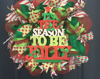 Red Green Deco Mesh Christmas Wreath For Front Door,  Traditional Holiday Wreath, Tis The Season Deco Mesh Christmas Wreath For Front Door