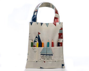 Colouring Tote Bag, Boat Oilcloth Bag, Child's Bag, Childs Gift, Boys Gift