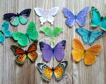 12 Multicolor Edible Butterflies Cake & Cupcake Toppers,